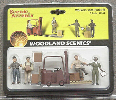 O scale FORKLIFT SET & WORKERS Woodland Scenics Train People  # 2744