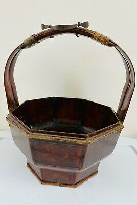 ANTIQUE-CHINESE BAMBOO &METAL DECOR-HAND PAINTED-OCTAGONAL SHAPE-LACQURED BASKET