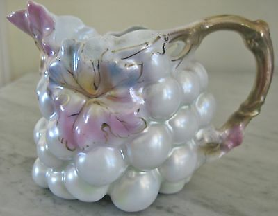 Royal Bayreuth Pearl Luster Grape Creamer Antique Porcelain Amethyst Blue Green