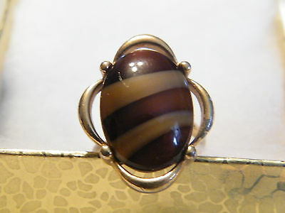 Beautiful Gold Tone Cocktail Ring Browns Cabachon Signed Sarah Cov Adjustable *