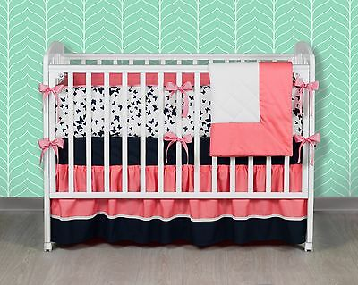 Coral Bliss 5 piece Girl Baby Bedding Set 100% Cotton by Purpur Couture
