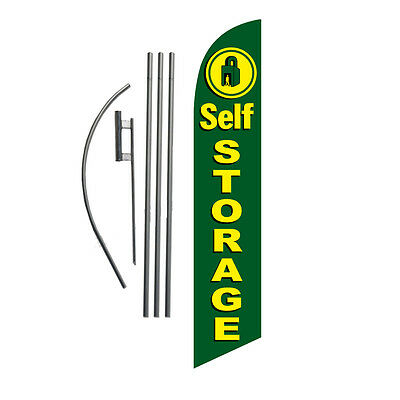 Self Storage (green) 15' Feather Banner Swooper Flag Kit with pole+spike