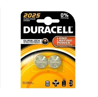 2 x Duracell CR2025 3V Lithium Coin Cell Battery 2025, DL2025, BR2025