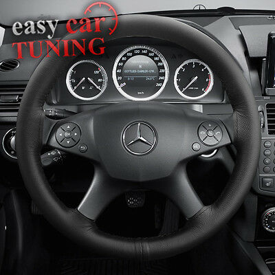 For Mercedes C Class W204 07-14 Black Genuine Real Leather Steering Wheel Cover