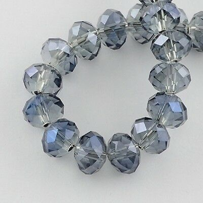 100 pcs RONDELLE FACETED GLASS CRYSTAL BEADS 6mm   Blue
