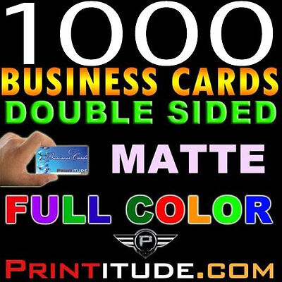 Custom Designed 1000 Full Color Thick Double Sided Matte Business Card