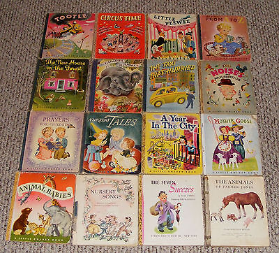 """12 Little Golden Book Lot, Good Condition, Many """"A"""" Prints, 1940s, Blue Binding."""
