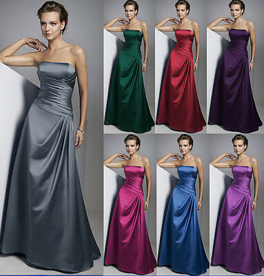New Satin Long Bridesmaid Dress Formal Cocktail gown Prom Evening Gown Size 6-18