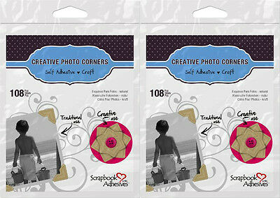 "Scrapbook Adhesives *216 Kraft Photo Corners* 1/2"" 2 packs, 108/pack  426401"
