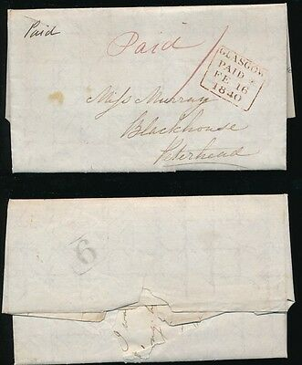 SCOTLAND 1840 UNIVERSAL PENNY POST CUMBERNAULD No.6 BOXED + GLASGOW PAID