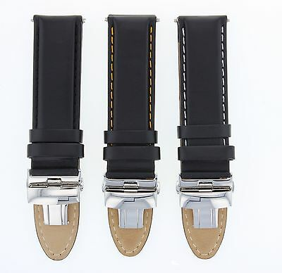 18-19-20-22--24Mm Leather Band Strap Smooth Deploy Clasp For Breitling Black #2