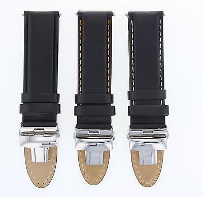 18-19-20-22Mm Genuine Leather Strap Band Smooth Deploy Clasp For Tudor Black #2