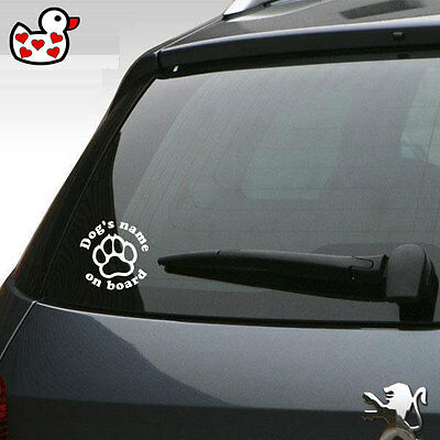 Personalised Dog on Board Car Sticker Any Name Perfect for Dog Lover