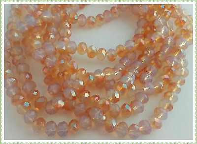 100 pcs RONDELLE FACETED GLASS CRYSTAL BEADS 6 mm Opal&Amber  jewellery making