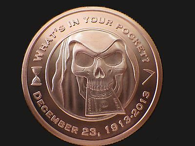 2013 Silver Bull Grim Reaper 1 oz .999 Copper BU Round USA Made Bullion Coin