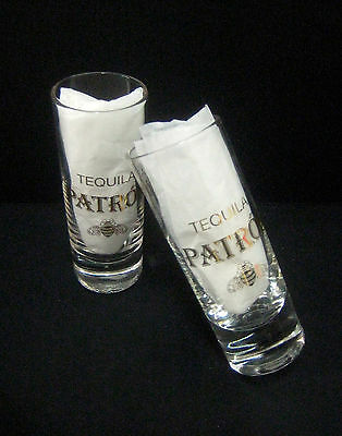 "NEW! 2 Patron Tequila Golden Bee 4"" Shooter Glasses 2oz. FREE SHIPPING!"