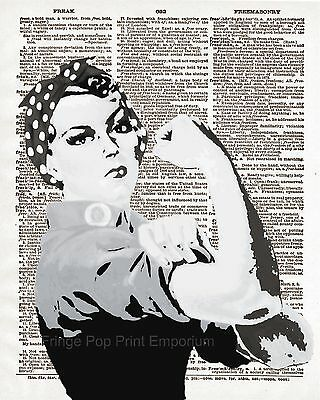 Rosie the Riveter Art Print 8 x 10 - Dictionary Page - Pop Art - Americana Icon