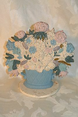 Antique Cast Iron Flower Basket Doorstop