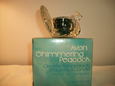 AVON SHIMMERING PEACOCK CLEARFIRE TRANSPARENT FRAGRANCE CANDLE