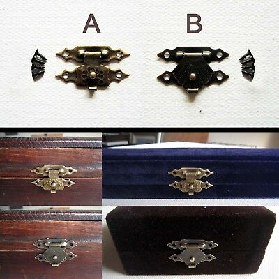 12X Decorative Antique Brass Mini Jewelry Gift Wine Box Wooden Case Hasp Latch
