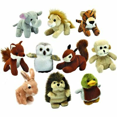 Set of 10 Mini Jungle and Woodland Animal Soft Cuddly Toys