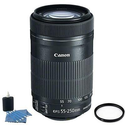 NEW Canon EF-S 55-250mm f/4-5.6 IS STM Lens + UV Filter + Cleaning Kit