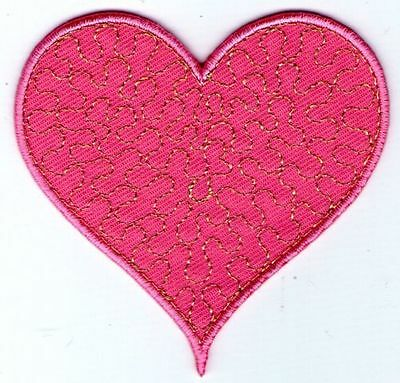 écusson ECUSSON PATCHE  THERMOCOLLANT PATCH  GIRL COEUR ROSE 7 X 6 CM