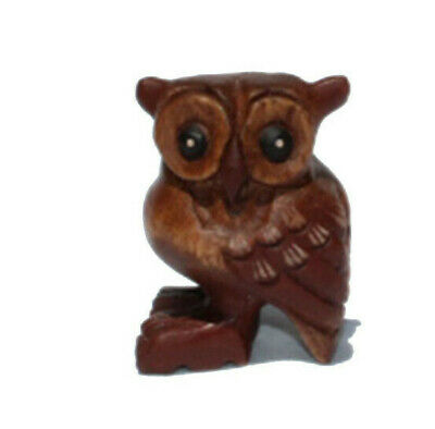 Fair Trade Mini Wooden Owl 6cm Tall handcarved in Thailand