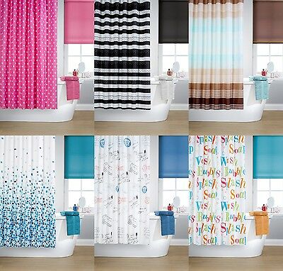 Modern Printed Shower Curtains New Vibrant Colours Rings Hooks Included Bathroom
