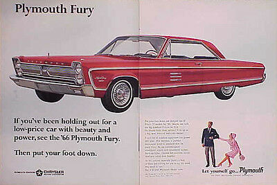 1966 Plymouth Fury ORIGINAL Vintage Ad CMY STORE 4MORE Great ADS 5+= FREE SHIP
