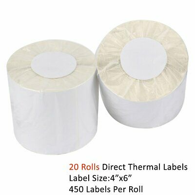 20 Rolls Direct Thermal Shipping Labels 450/roll 4x6 For Zebra ZP450 Eltron 2844