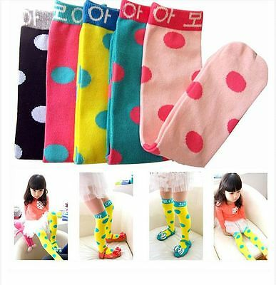 1-8 Years Kids Toddlers Girls Soft Knee High Polka Dot Socks Tights Stockings