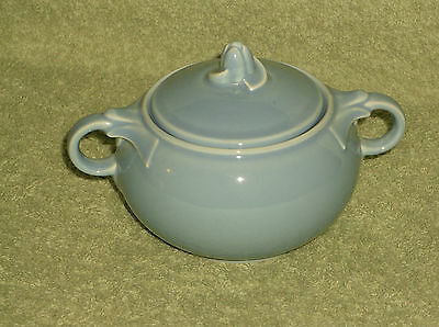 T.S.& T. LuRay Pastel Sky Blue Covered Sugar Bowl Dish with Lid Cover