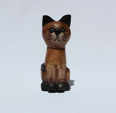 Fair Trade Wooden Tall Cat with Painted Face 13cm size from Thailand New!