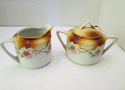 Antique Art Deco Germany Porcelain Hand Painted Sugar Creamer w Roses