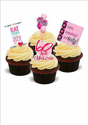 60TH BIRTHDAY MIX 12 STANDUPS Edible Cake Toppers Girls Female Sexy Sixty 60
