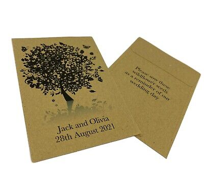 10 x Wildflower Seed Wedding Favours Packets - PERSONALISED Vintage Boho