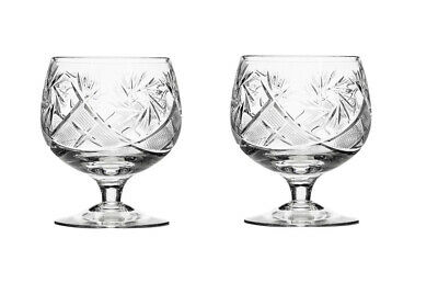 Set of 2 Russian Cut Crystal Brandy Glasses 10 oz - Soviet USSR Cognac Snifters