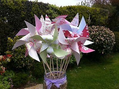 Mini SPINNING pinwheels kit DIY - floral wedding tea party decorations