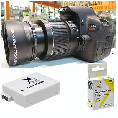 58MM 2x Telephoto Zoom Lens + LP-E8 BATTERY for Canon Rebel EOS T5 T5I USA SELL