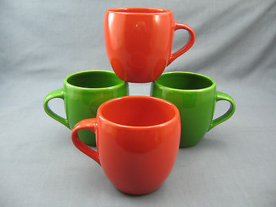 STARBUCKS Mugs RED GREEN 2005 Heavy Rounded Design CHRISTMAS HOLIDAY Set Of 4
