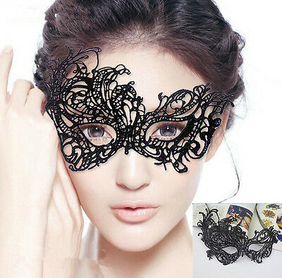 Retro Lace Eye Mask Black Mysterious Masquerade Party Veil Phoenix Face Mask