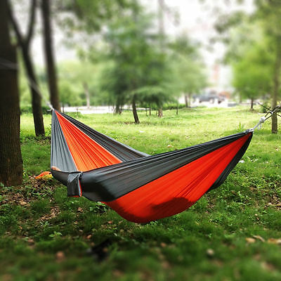 Portable Double Person Parachute Nylon Fabric Travel Camping Hammock Grey&Orange