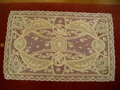 REFINED HANDMADE Antique Vtg NORMANDY LACE DRESSER SCARF RUNNER PILLOW COVER