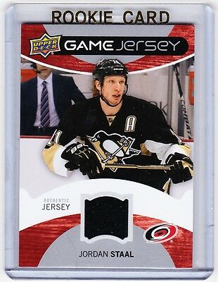 e759e28c8 12 13 JORDAN STAAL Upper Deck Series 1 Game Jersey Card Carolina ...
