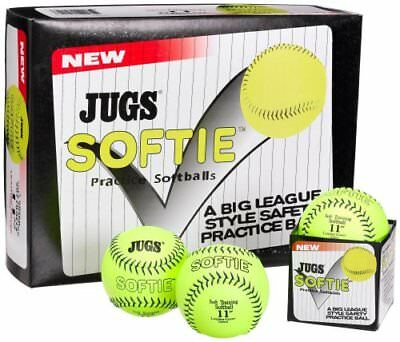 JUGS Softie 11 inch Yellow Fastpitch Softball Leather Balls 1 Dozen (12). B5110