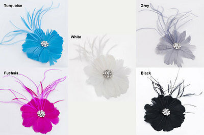 Janeo Small Hair & Brooch Fascinator Corsage, Ostrich Feathers & Diamante Detail