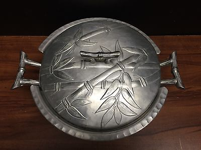Vintage collecteble Everlast Forged Aluminum serving dish & lid Bamboo