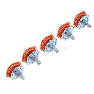 5pcs  Guitar Rotary Switch Selector 2-Pole 6-Position Parts