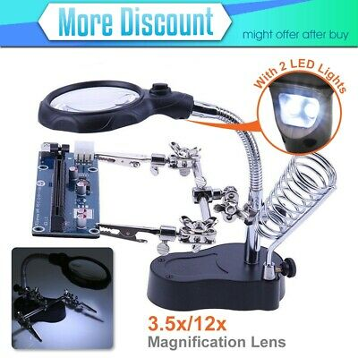 Helping Hand Soldering Iron Stand with 5 LED Magnifier 2.5x, 7.5x, 10x